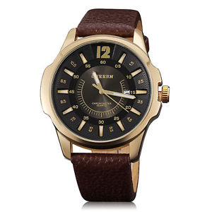 CURREN Men Brown Leather Strap Watches